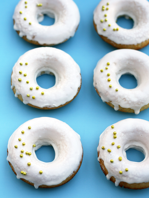 Decorated Baked Glazed Donuts