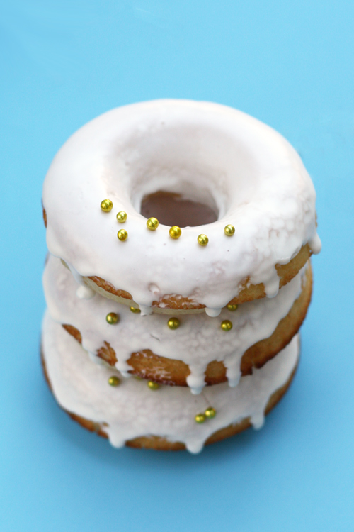 Decorated and Stacked Baked Glazed Donuts