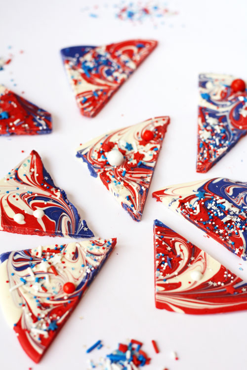 Cut 4th of July Chocolate Shards