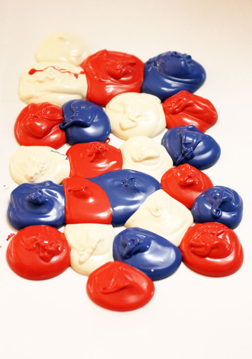 Melted Red, White and Blue Chocolate