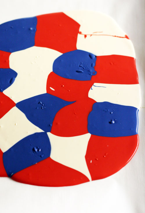 Melted and Shaken Red, White and Blue Chocolate