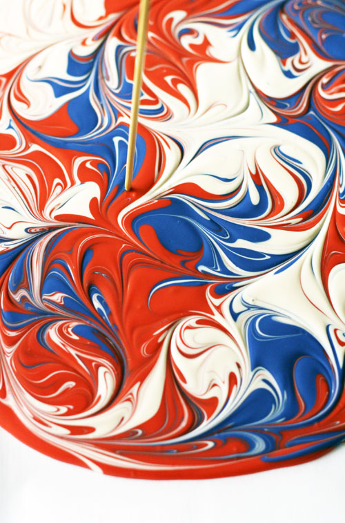 Swirled Red, White and Blue Chocolate
